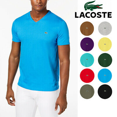 Mens Lacoste T Shirt V Neck Pima Cotton SS Regular Fit Tee Lacoste TH6710 NEW