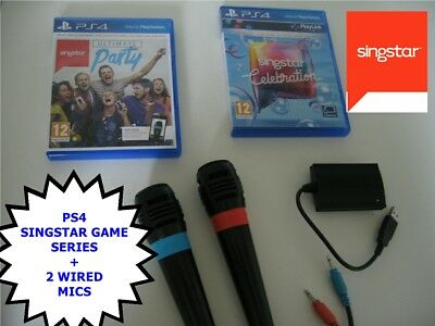 PS4 SINGSTAR GAME SERIES- ULTIMATE PARTY / CELEBRATION + 2x Official Microphones