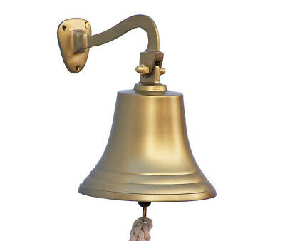 "Antiqued Brass Finish Solid Aluminum Ship's Bell 7"" Nautical Hanging Wall Decor"