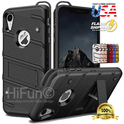 Fits iPhone Body Armor Heavy Duty Shockproof Case Cover + Kickstand Lanyard Hole