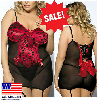 Red/Black Lace Paisley Babydoll Teddy w/ Back Bow Boudoir Lingerie Thong M-6XL