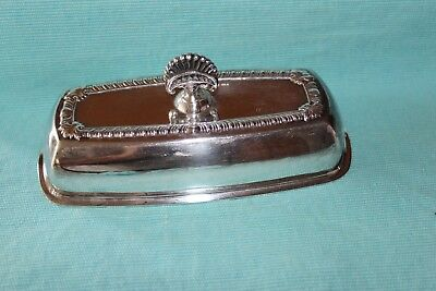 VINTAGE 1940's PORTSMOUTH  Silverplate COVERED BUTTER DISH w/Cut Glass Tray