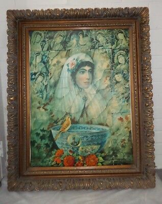 Huge Rare Print on Canvas Persian Qajar Painting Museum Quality With Frame