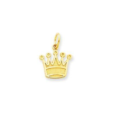 14k Yellow Gold Crown Open back Polished Charm Pendant 12mmx15mm