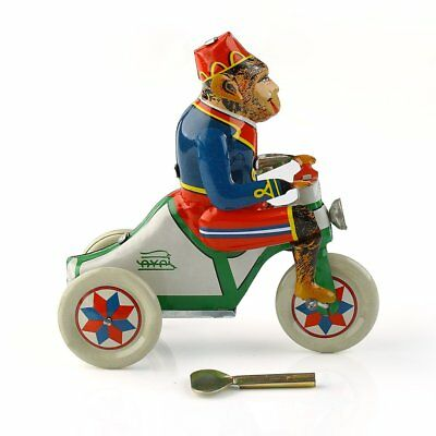 1Pc  Monkey Riding a Car Wind Up Toy Collectible Retro Clockwork Tin Toy Gift