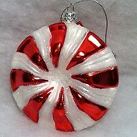 Peppermint Patty Lifesaver Christmas Tree Ornament, Glass , Red & White
