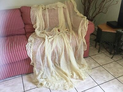 Antique vintage pr curtains drapes cotton netting w chenille type thread design