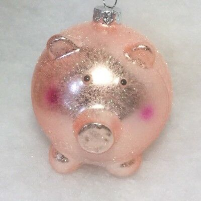 Pink Pig Ball Christmas Tree Ornament With Mica