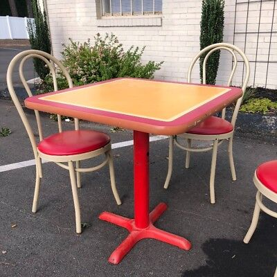 Vintage Dinnette Cafe Setting Table (red and yellow table) with chairs