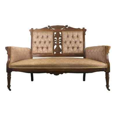 Antique Victorian Eastlake Carved Walnut Settee Parlor Loveseat Bench Brocade