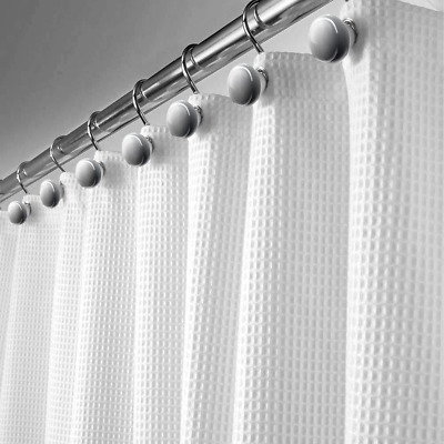 Waffle Fabric Shower Curtain Soft Touch Waterproof Polyester Bathroom 72 x 72''