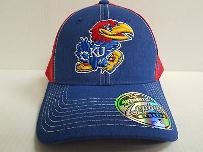 size 40 832e6 27abf Kansas Jayhawks Cap Zephyr Stretch Fit Fitted Heathered Clash Hat NCAA