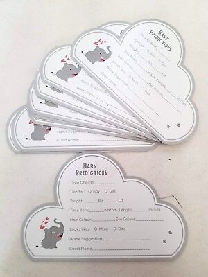 5 Baby Shower Prediction CARDS Games New Mum To Be Grey Cloud Unisex Boys Girls