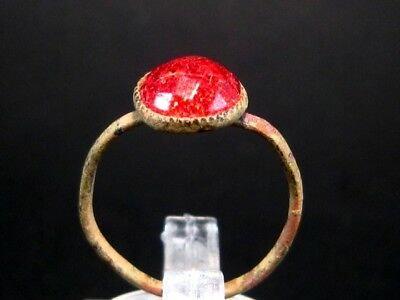 ORIGINAL ANTIQUE LADY RING from 1800's, RED GLASS STONE!!!