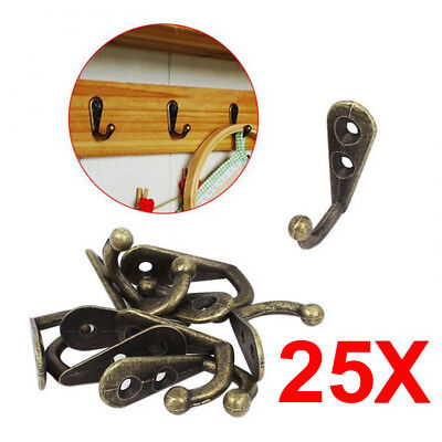 25x Zinc Alloy Rustic Vintage Antique Wall Door Mount Hooks Wardrobe Key Hanger