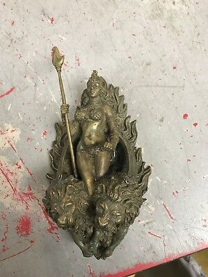 AWESOME ANTIQUE Vintage  HEAVY Solid Brass Door Knocker 2 Lions Head Goddess