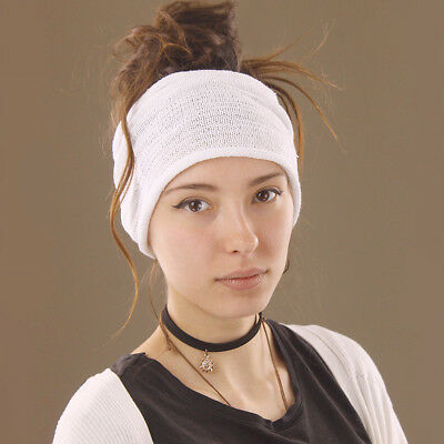 Headband White Hippy Boho Scrunch Stretch Knit Cotton Wide Versatile Dreadlocks