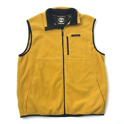 a8ba26b1e9a VINTAGE Timberland Mens Fleece Jacket Full Zip Mock Vest Mustard Yellow  Size L
