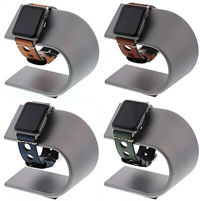 Apple Watch Nomad Charging Stand Silver and 4 Leather 42mm Bands Navy/Brown/Gr