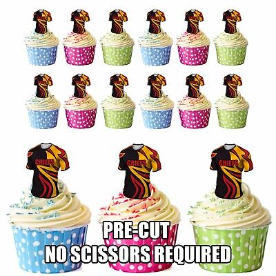 PRECUT The Chiefs Rugby Shirts Edible Cupcake Toppers Boys Men Birthday