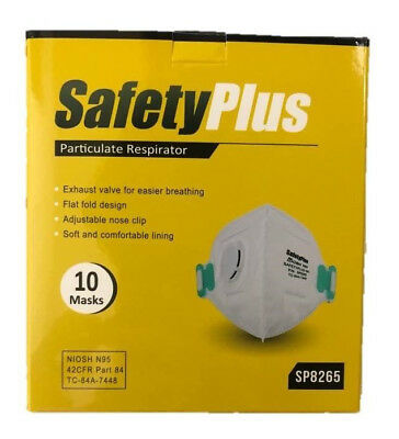 SafetyPlus Respirator Disposable Dust Mask Exhaust Valve NIOSH N95 10 Pack NEW