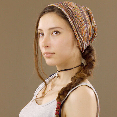 Headband Orange Brown White Hippy Boho Scrunch Stretch Nepalese 100% Cotton Wide