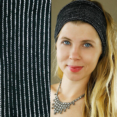 Black 100% Cotton Wide Nepalese Hippy Boho Hair Headband Stretchy White Stripe