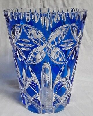 Vintage 9 Bohemian Czech Cut To Clear Crystal Vase Cobalt Blue Nr