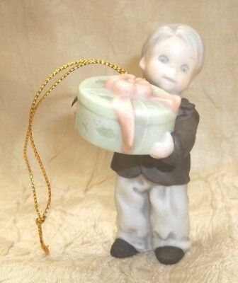 Kim Anderson Enesco Pretty As A Picture 1996 Ornament Boy with Gift  201553