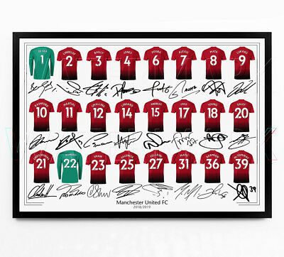 Manchester United Signed Print Photo Poster Canvas Wall Art Squad Team 2018 2019