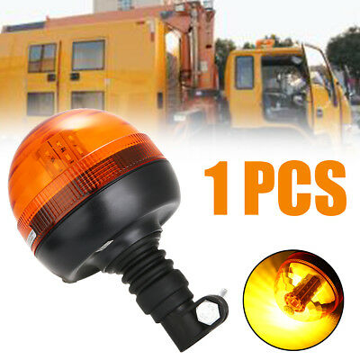 40 LED Rotating Flashing Amber Beacon DIN Pole Mount Tractor Warning Light
