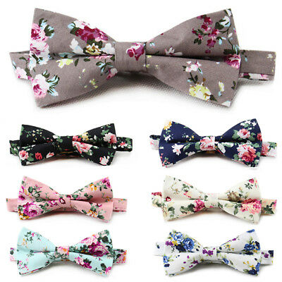 Men Tuxedo Floral Print Pre-tied Bowtie Wedding Party Adjustable Flower Bow Tie