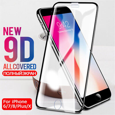 9D Full Cover Tempered Glass For iphone 7 6 6s 8 PLus X Screen Protector Film HQ