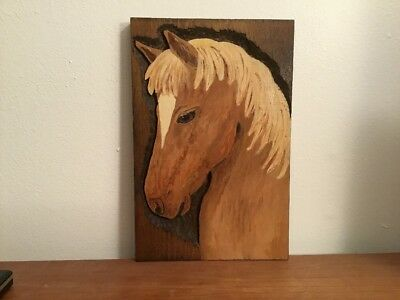 "Vintage Horse Wall Plaque Hand Carved Wood 7-1/4"" X 11"""