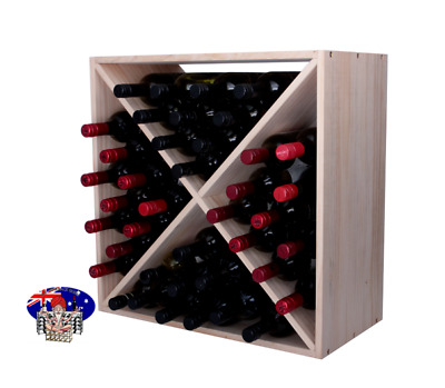40 Bottle Wine Rack Cube - PINE - Flat Pack - Free Delivery