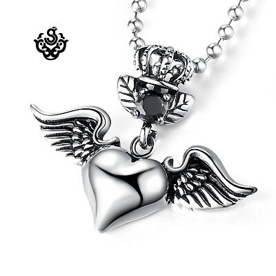 Silver pendant vintage style stainless steel angel heart cz chain necklace 60cm