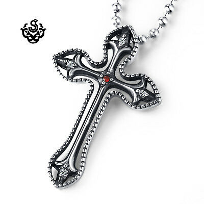 Silver pendant vintage style stainless steel red cz Fleur-De-Lis cross necklace