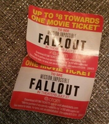 Atom 8 Off Mission Impossible Fallout Ticket Coupon X2 3 25