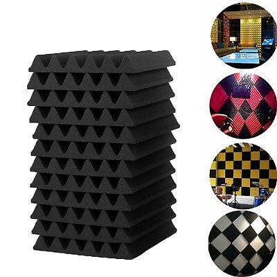 12Pcs Acoustic Wall Panels Sound Proofing Foam Pads Studio Treatments Tool UK