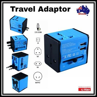 Universal World Travel Power Adaptor 2 USB Plug Charger UK US EU AU Europe Asia