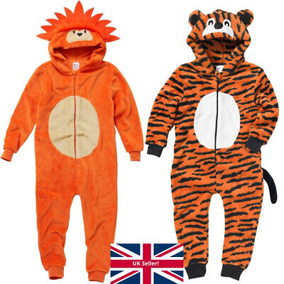 World Book Day Tiger 1Onesie Onezi Fleece Hooded Novelty Character Jumpsuit