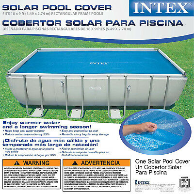 SWIMMING POOL SOLAR Cover Warming Heating Rectangular Frame 18 x 9 Feet  Blue NEW