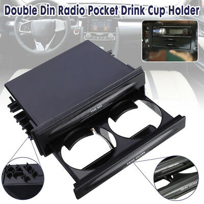 Deluxe Car Double Din Radio Pocket Drink Cup Holder + Storage Box Kit Universal