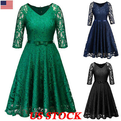 Women's Vintage Lace Formal Wedding Cocktail Evening Party Retro Swing Dress USA