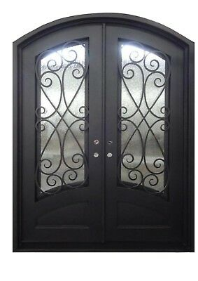 """Azle Double Front Entry Wrought Iron Door Operable Tempered Rain Glass 72"""" x 96"""""""