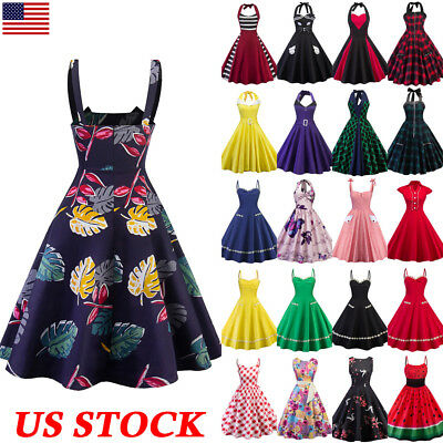 USA Women's Retro 50s 60s Rockabilly Housewife Evening Party Vintage Swing Dress