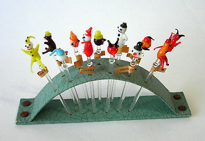 Vintage GLASS COCKTAIL PICKS Circus & Snowmen Made in Germany Pre-1949 Excellent