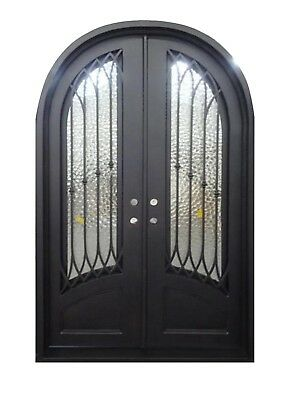 "Austin Double Front Entry Wrought Iron Door Operable Frosted Glass 60"" x 96"""