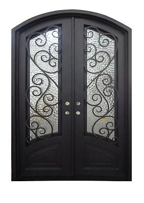 "Alvin Double Front Entry Wrought Iron Door Operable Water Cubit Glass 60"" x 96"""