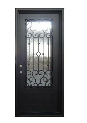 "Arlington Single Front Entry Wrought Iron Door Operable Rain Glass 40"" x 96"""